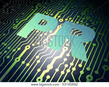 Advertising concept: circuit board with PR
