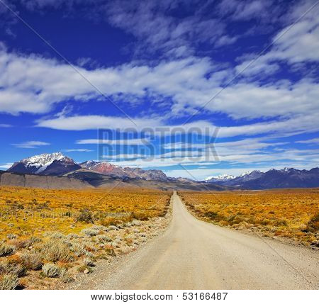 The endless pampas in Patagonia, Argentina. The road in the desert