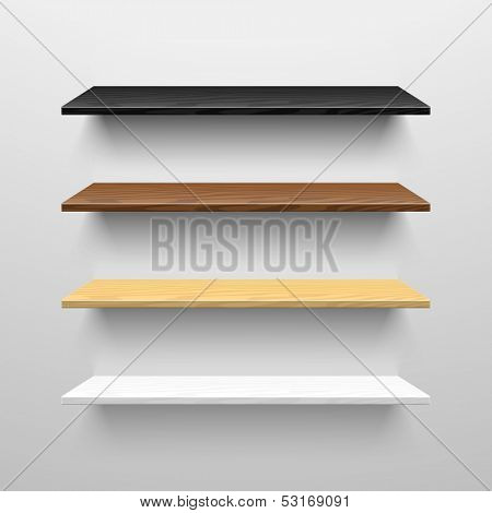 Wooden shelves. Vector.