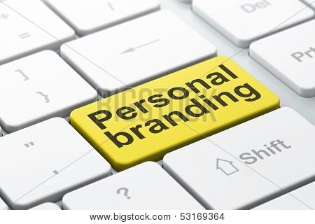 Marketing concept: Personal Branding on computer keyboard background