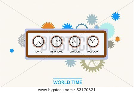 Word time -  clock editorial illustration with cogwheels