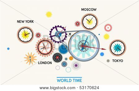 Word time - cogwheels with clock editorial illustration