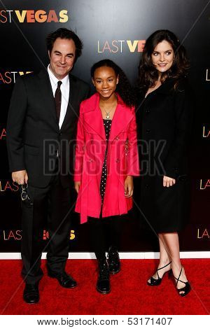 NEW YORK- OCT 29: Actor Roger Bart (L) and daughter Eller (c) attend the premiere of 'Last Vegas' at the Ziegfeld Theatre on October 29, 2013 in New York City.