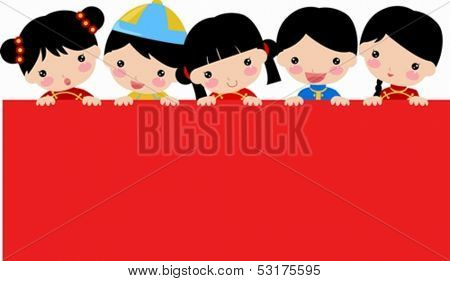 New Year  children and banner,Chinese