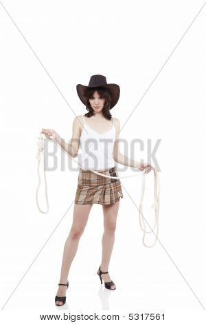 Cowgirl With Lasso In Hands