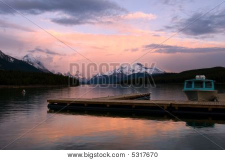 Sunset On Mountain Lake