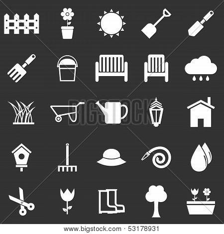 Gardening Icons On Black Background