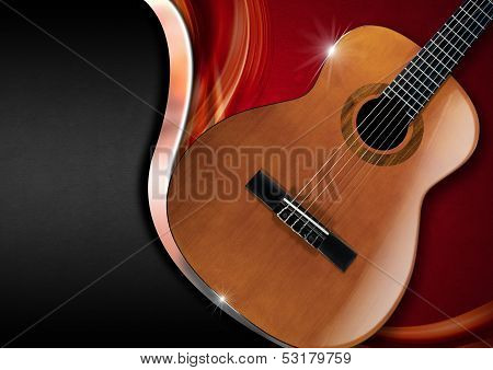 Acoustic Guitar On Luxury Background