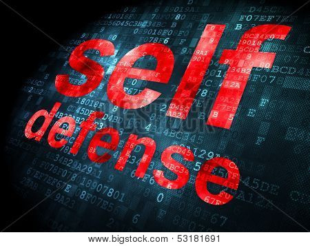 Privacy concept: Self Defense on digital background