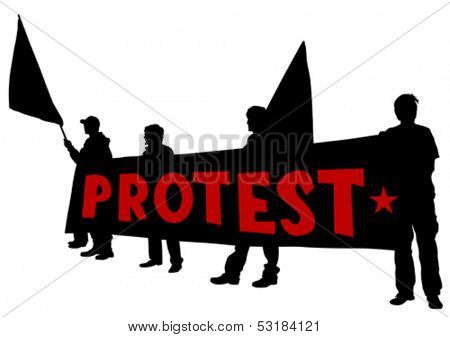 Vector drawing of anarchists with large flags.