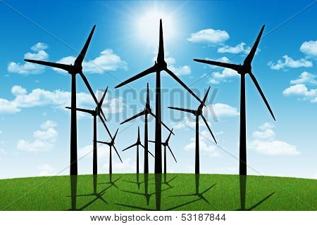 Group Of Aeolian Windmills In Perspective