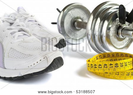 Shoes, Tape And Dumbbell