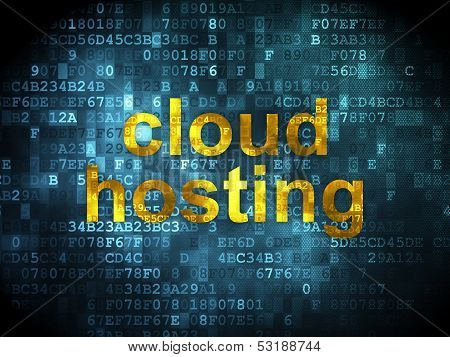 Cloud technology concept: Cloud Hosting on digital background