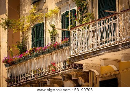 Specific Old Corfu Town Facades, Greece