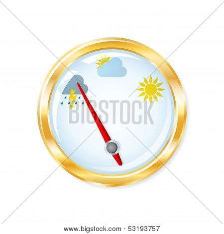 Barometer Measuring Indicates Rainy Weather. Vector Illustration