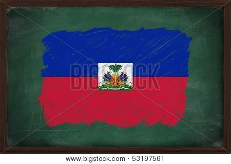 Haiti Flag Painted With Chalk On Blackboard