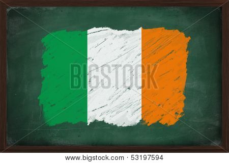 Ireland Flag Painted With Chalk On Blackboard