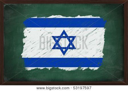 Israel Flag Painted With Chalk On Blackboard