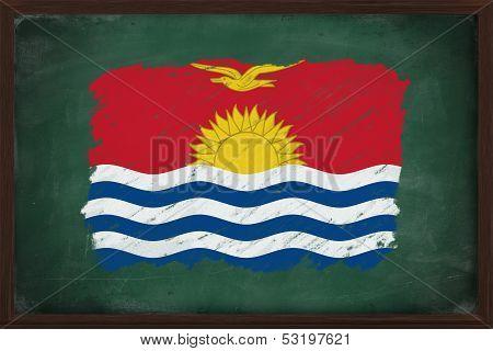 Kiribati Flag Painted With Chalk On Blackboard