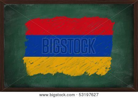 Armenia Flag Painted With Chalk On Blackboard