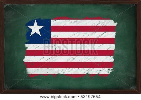 Liberia Flag Painted With Chalk On Blackboard