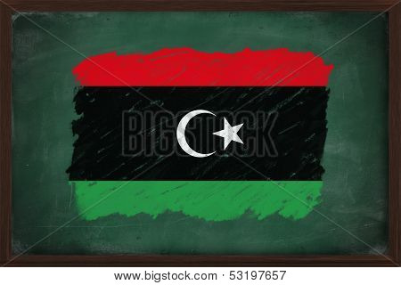 Libya Flag Painted With Chalk On Blackboard