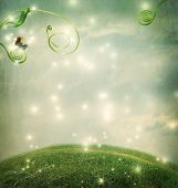 image of hilltop  - Fantasy landscape with a small snail and tendrils - JPG