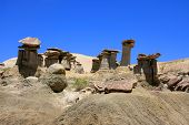 image of hoodoo  - Horizontal shot of hoodoos in New Mexico Wilderness over blue sky - JPG