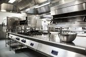 stock photo of oven  - Work surface and kitchen equipment in professional kitchen - JPG