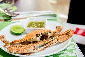 image of cooked blue crab  - steamed crab with spicty sauce - JPG