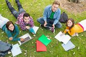 pic of homework  - High angle portrait of young college students using laptop while doing homework in the park - JPG
