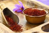 stock photo of saffron  - Dried saffron spice and Saffron flower - JPG