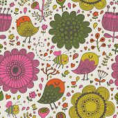 stock photo of bee cartoon  - Cute seamless pattern made of summer flowers - JPG