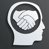 image of prosperity sign  - handshake in the head vector art and illustration - JPG