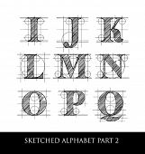 stock photo of initials  - architectural sketched letters set 2 - JPG