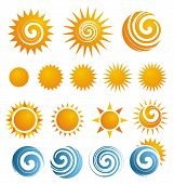 image of holiday symbols  - Set of summer icons - JPG