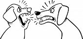 stock photo of growl  - Black and White Cartoon Illustration of Two Angry Barking and Growling Dogs for Coloring Book - JPG