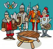 foto of armor suit  - Cartoon Illustration of Legendary Knights of the Round Table - JPG