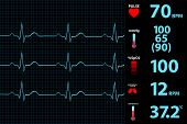 image of electrocardiogram  - New Modern Electrocardiogram Monitor Display Vector Illustration - JPG