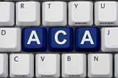 picture of mandate  - Computer keyboard keys with word ACA Affordable Care Act - JPG