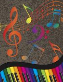 image of rainbow piano  - Wavy Abstract Piano Keyboard with Rainbow Colors Keys and Musical Notes Textured Background Illustration - JPG