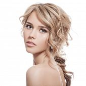 stock photo of shoulders  - Beautiful Blonde Girl - JPG