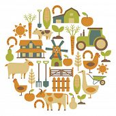 image of farmhouse  - round card with farm related items - JPG