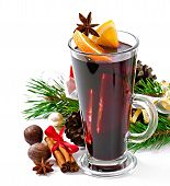 Christmas mulled wine in glass cup isolated on white background