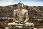 stock photo of samadhi  - Buddha statue close up in Vatadage ancient city of Polonnaruwa Sri Lanka - JPG
