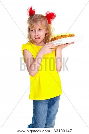 Girl with cake. Isolated on white background