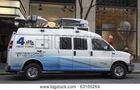 WNBC Channel 4 van in midtown Manhattan