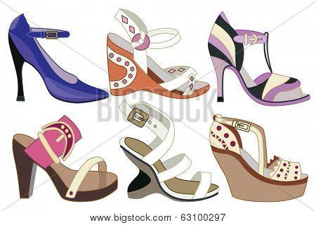 collection og fashion shoes (vector illustration)
