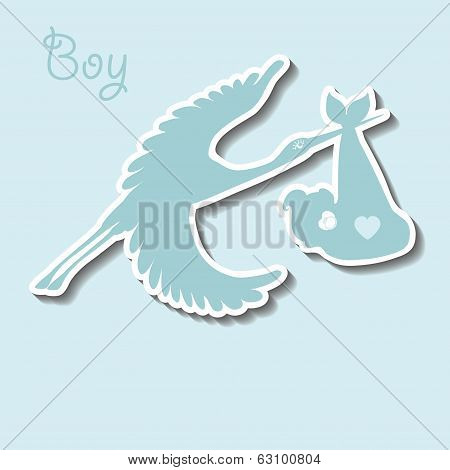 Flat Stork  Flying With  Baby Boy.newborn Collection