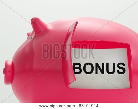 Bonus Piggy Bank Means Perk Or Benefit